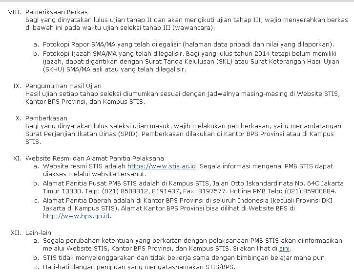 syarat daftar STIS terbaru