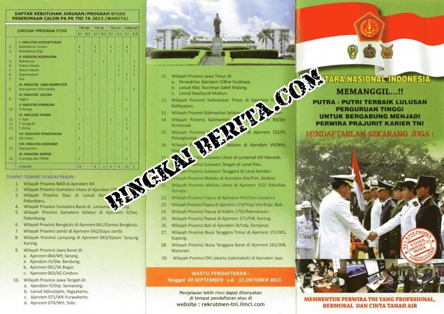 Pendaftaran Penerimaan Calon Bintara PK TNI AU 2013| Persyaratan dan