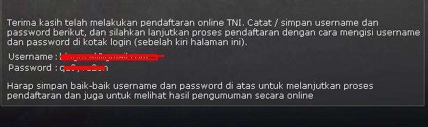 TNI AD setelah itu jangan lupa untuk login seperti contoh berikut ini