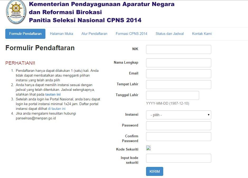 formulir pendaftaran cpns
