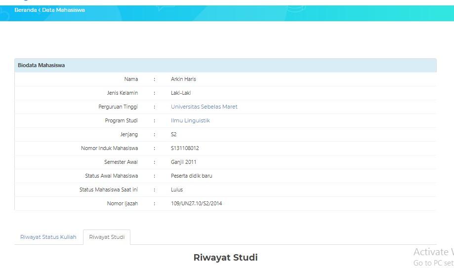 Hasil Biodata PD DIkti
