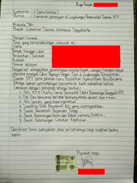 Surat Lamaran CPNS