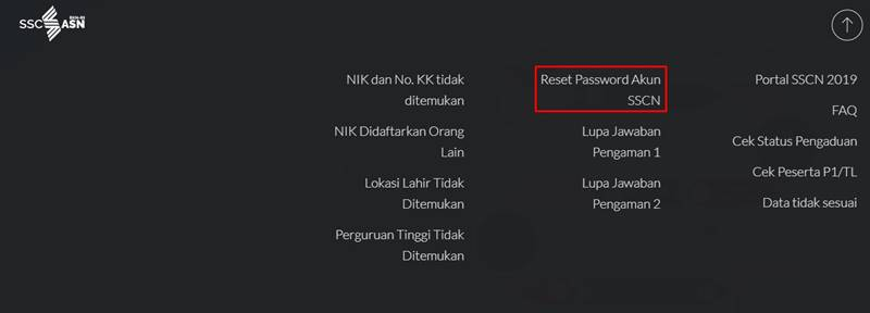 Reset Password sscn