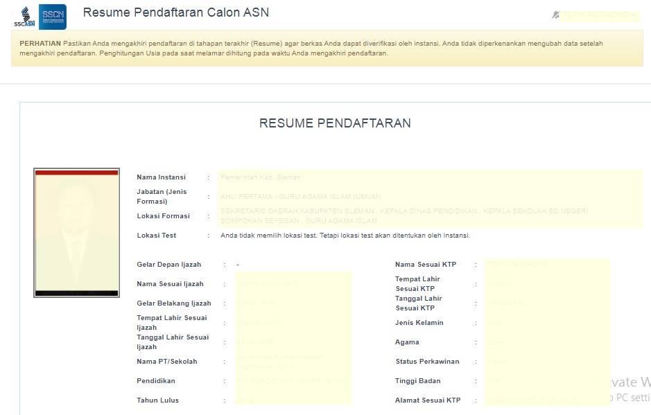 Resume Pendaftaran