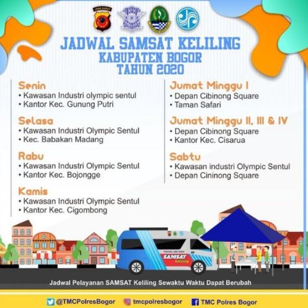 Jadwal Samsat Keliling Kabupaten Bogor